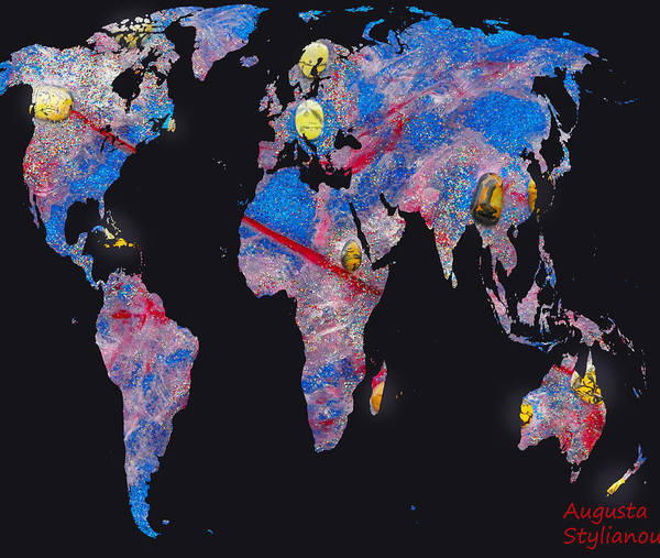 Digital Art - World Map And Aries Constellation by Augusta Stylianou