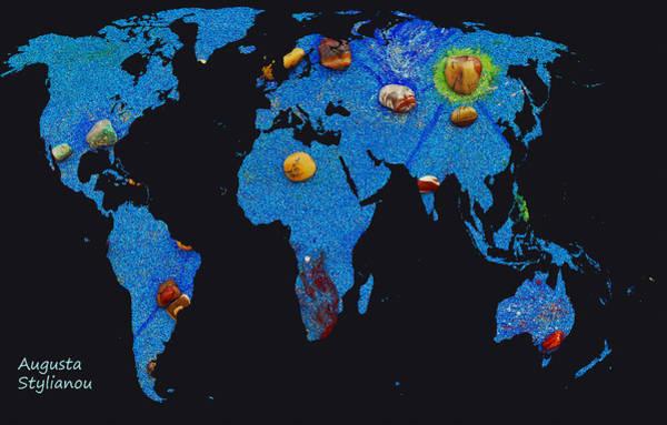 Digital Art - World Map And Aquarius Constellation by Augusta Stylianou