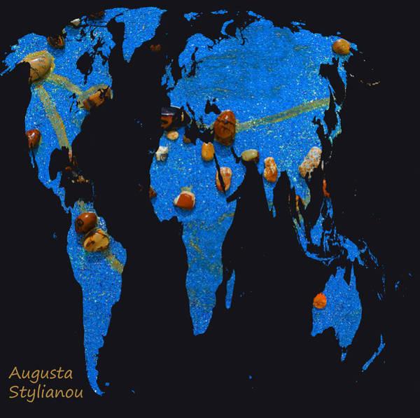 Digital Art - World Map And Capricorn Constellation by Augusta Stylianou