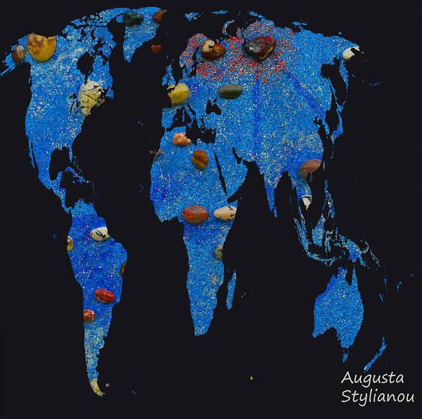 Digital Art - World Map And Libra Constellation by Augusta Stylianou