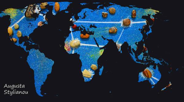 Digital Art - World Map And Ursa Major Constellation by Augusta Stylianou