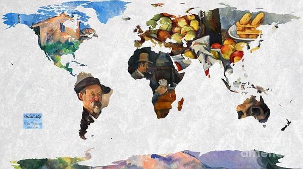 Ch Painting - World Map Cezanne 2 by John Clark