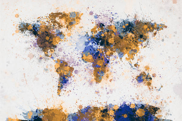Splash Digital Art - World Map Paint Splashes by Michael Tompsett