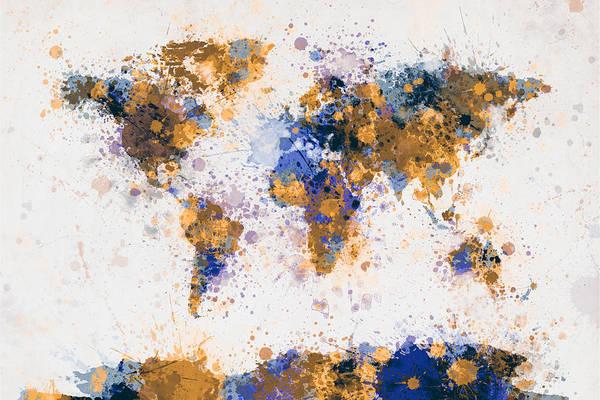 Wall Art - Digital Art - World Map Paint Splashes by Michael Tompsett
