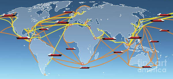 Shipping Digital Art - World Shipping Routes Map by Atiketta Sangasaeng