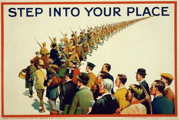Marching Photograph - World War I Recruitment Poster by Library Of Congress