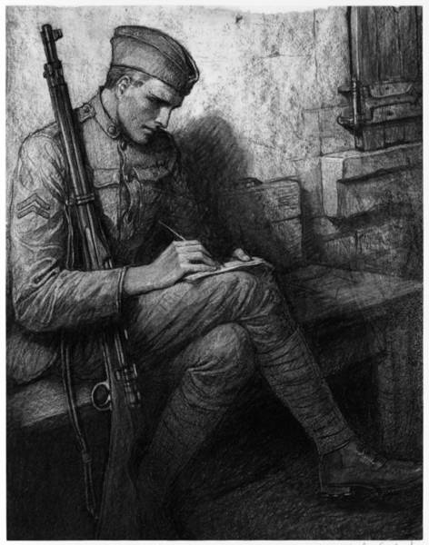 Wall Art - Drawing - World War I Soldier by Granger