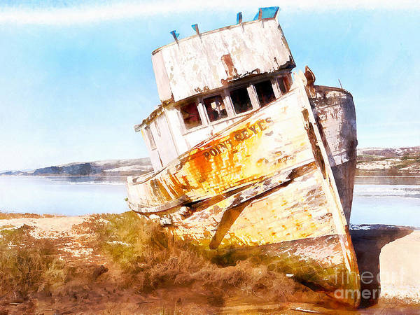 Photograph - Wreck Of The Point Reyes Boat In Inverness Point Reyes California Dsc2079wc by Wingsdomain Art and Photography