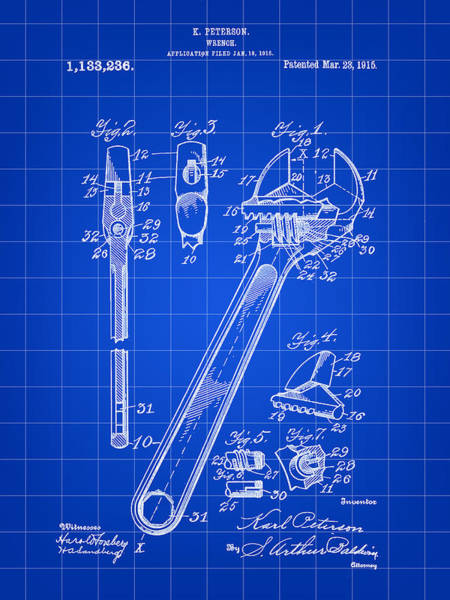 Adjustable Wrench Wall Art - Digital Art - Wrench Patent 1915 - Blue by Stephen Younts