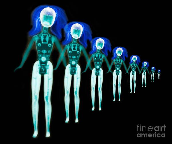 Unusual Perspective Wall Art - Photograph - X-ray Of Barbie Dolls by Scott Camazine