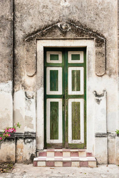Stucco Wall Art - Photograph - Xxxl Old Weathered Door On Deterioting by Ogphoto