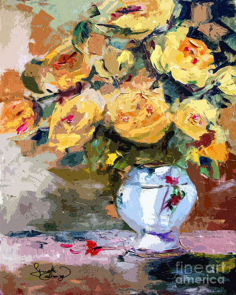 Painting - Yellow Roses Still Life by Ginette Callaway
