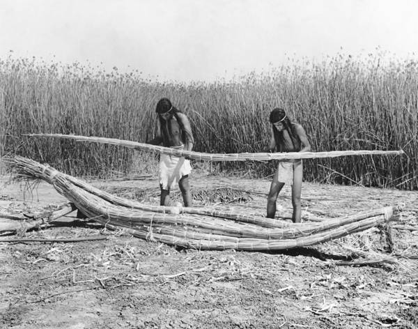 Photograph - Yokuts Making Tule Boats by Underwood Archives Onia