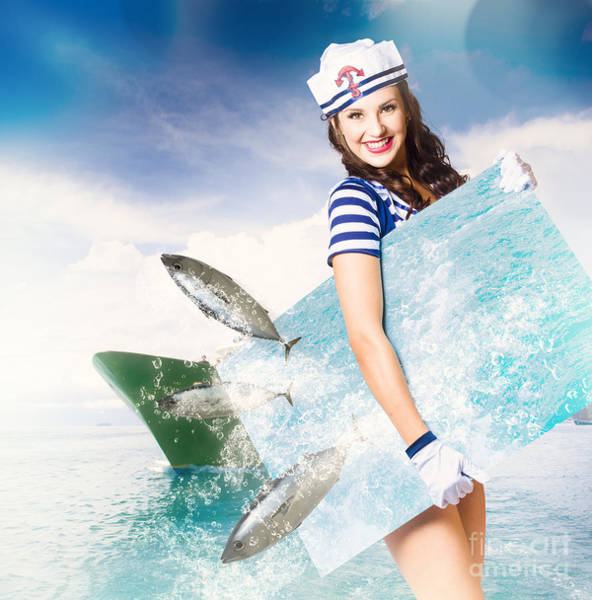 Jumping Photograph - Young Navy Pin Up Model With Seafood Smorgasboard by Jorgo Photography - Wall Art Gallery