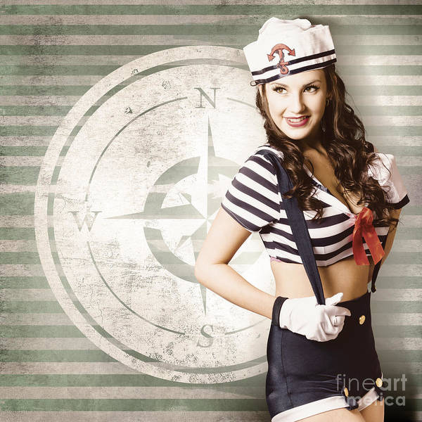 Anchor Photograph - Young Sailor Pin Up Girl On Travel Cruise Compass by Jorgo Photography - Wall Art Gallery