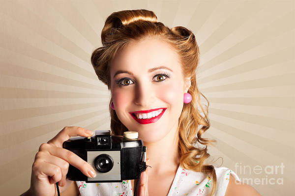 Lively Photograph - Young Smiling Vintage Girl Taking Photo by Jorgo Photography - Wall Art Gallery