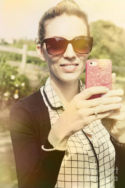 Smartphone Photograph - Young Woman In 20s Using Cell Phone Outdoors by Jorgo Photography - Wall Art Gallery