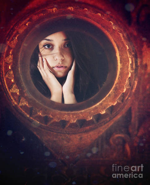 Photograph - Young Woman Looking Unsure And Afraid Looking Through Peep Hole  by Sandra Cunningham