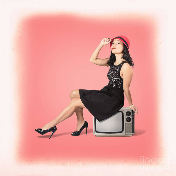 Television Program Wall Art - Photograph - Young Woman Sitting On Old Tv Set by Jorgo Photography - Wall Art Gallery