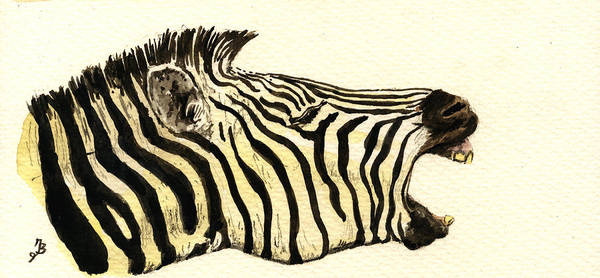 African Wildlife Painting - Zebra Head Study by Juan  Bosco