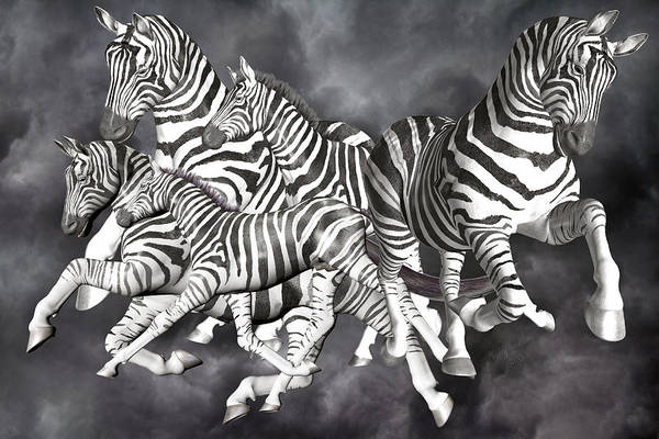 Majestic Digital Art - Zebras  by Betsy Knapp