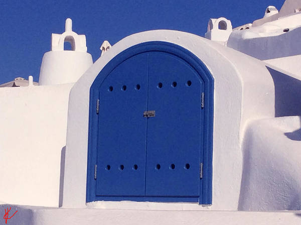 Photograph - Blue Door Santorini Island Greece by Colette V Hera  Guggenheim