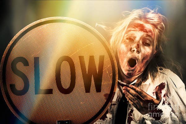 Yawn Photograph - Zombie Business Person Holding Slow Sign  by Jorgo Photography - Wall Art Gallery