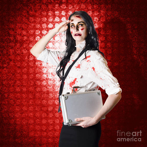 Photograph - Zombie Business Woman In Red Alert Emergency by Jorgo Photography - Wall Art Gallery