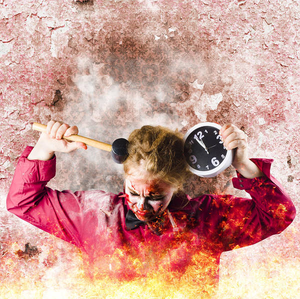 Alarm Clock Photograph - Zombie In Fire Holding Clock. Out Of Time by Jorgo Photography - Wall Art Gallery