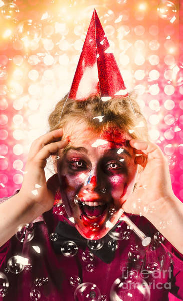Panic Photograph - Zombie In Party Hat. Halloween Party Celebration by Jorgo Photography - Wall Art Gallery