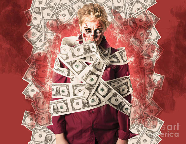 Financial Crisis Photograph - Zombie Tied Up In Financial Debt. Dead Money by Jorgo Photography - Wall Art Gallery