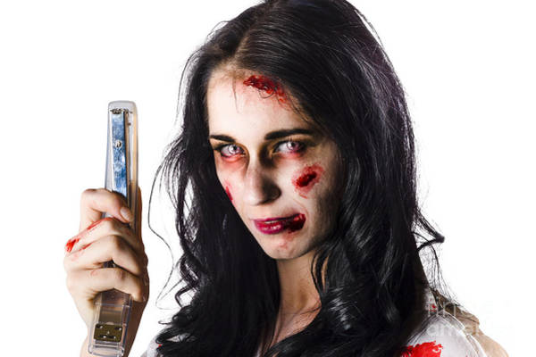 Bitter Photograph - Zombie Woman With Stapler by Jorgo Photography - Wall Art Gallery