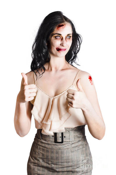 Fearless Photograph - Zombie Woman With Thumbs Up by Jorgo Photography - Wall Art Gallery