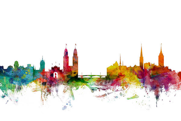 Skyline Wall Art - Digital Art - Zurich Switzerland Skyline by Michael Tompsett