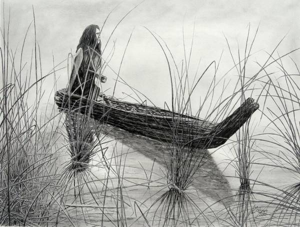 Wall Art - Drawing - Canoe Of Tules by Charles Rogers