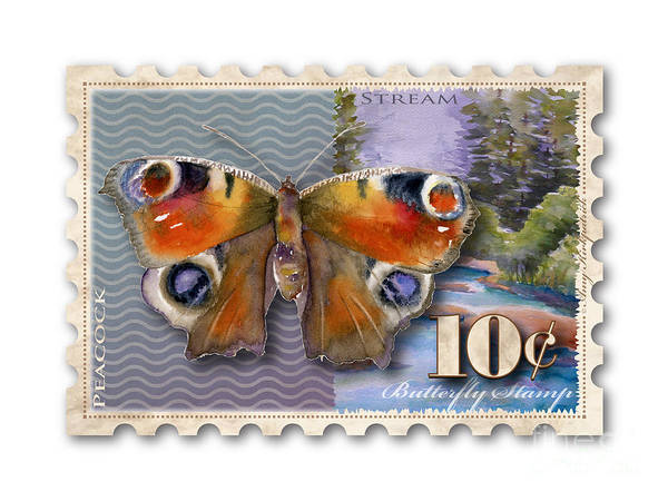 Buckeye Butterfly Wall Art - Painting - 10 Cent Butterfly Stamp by Amy Kirkpatrick