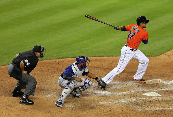 Giancarlo Stanton Photograph - Colorado Rockies V Miami Marlins by Mike Ehrmann
