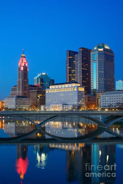 Photograph - Fx2l-516 Columbus Ohio Night Skyline Photo by Ohio Stock Photography