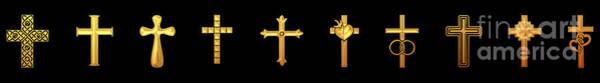 Digital Art - 10 Golden Crosses by Rose Santuci-Sofranko