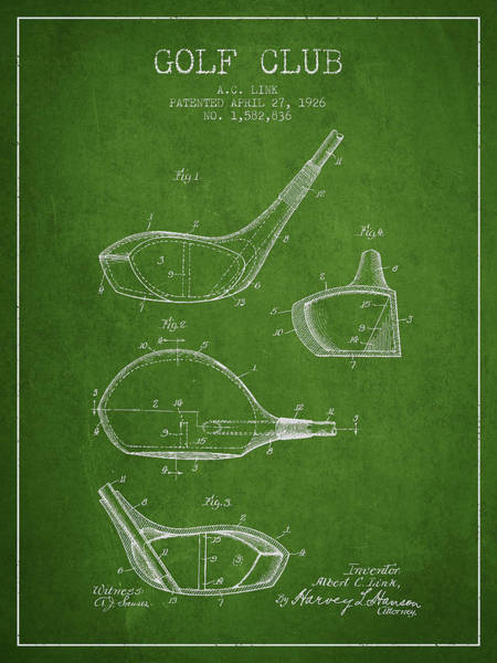 Wall Art - Digital Art - Golf Club Patent Drawing From 1926 by Aged Pixel