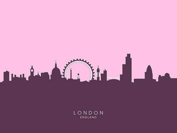 United Kingdom Wall Art - Digital Art - London England Skyline by Michael Tompsett