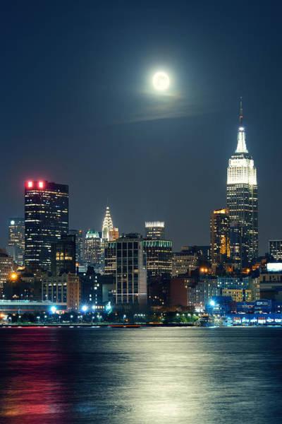 Photograph - Moon Rise Manhattan by Songquan Deng