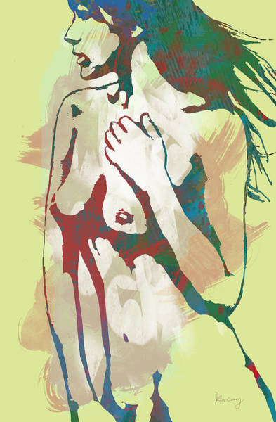 Stylized Drawing - Nude Pop Stylised Art Poster by Kim Wang