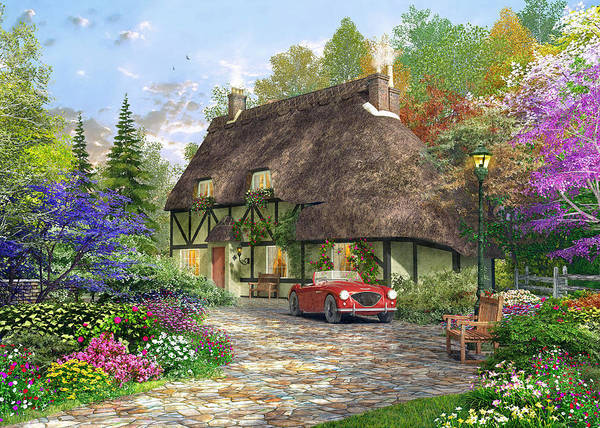 Traditional Home Digital Art - The Oak Wood Cottage by MGL Meiklejohn Graphics Licensing