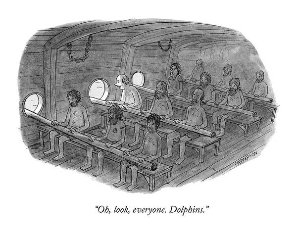 Drawing - Oh, Look, Everyone. Dolphins by Jason Patterson
