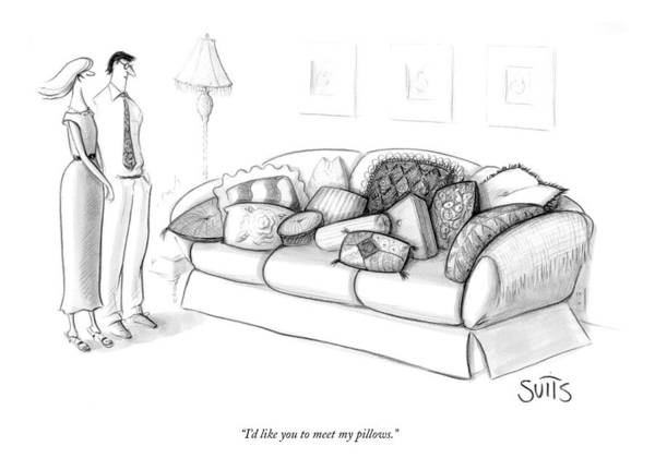 Furniture Drawing - I'd Like You To Meet My Pillows by Julia Suits