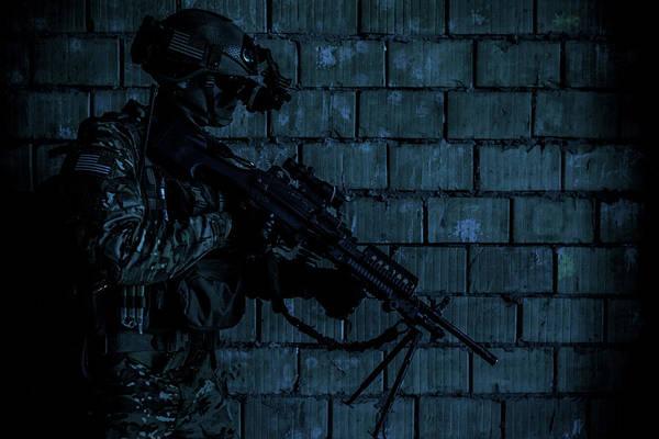 Wall Art - Photograph - U.s. Army Ranger With Machine Gun by Oleg Zabielin