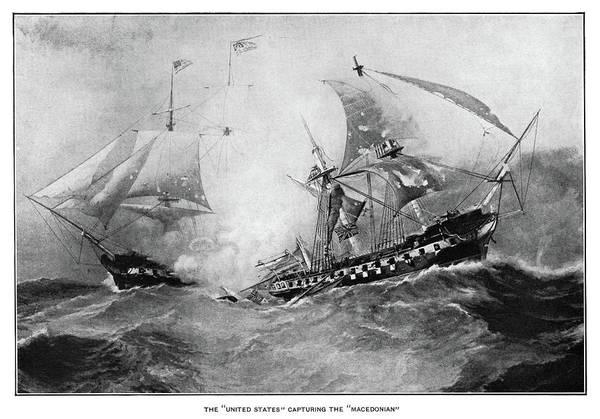 Wall Art - Painting - War Of 1812 Naval Battle by Granger