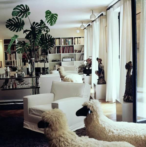 Pendant Photograph - Yves Saint Laurent's Living Room by Horst P. Horst