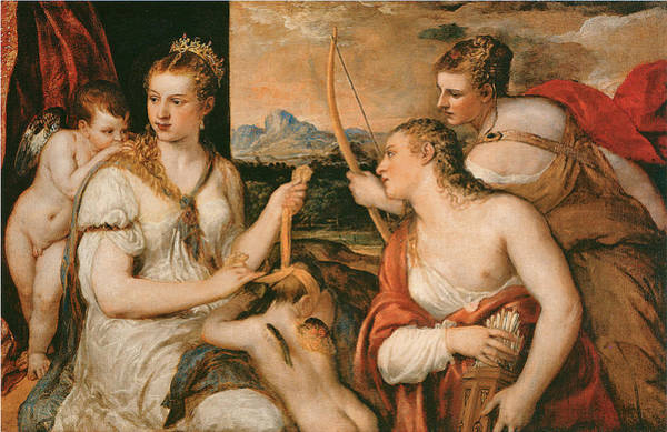 Painting - Venus Blindfolding Cupid by Titian